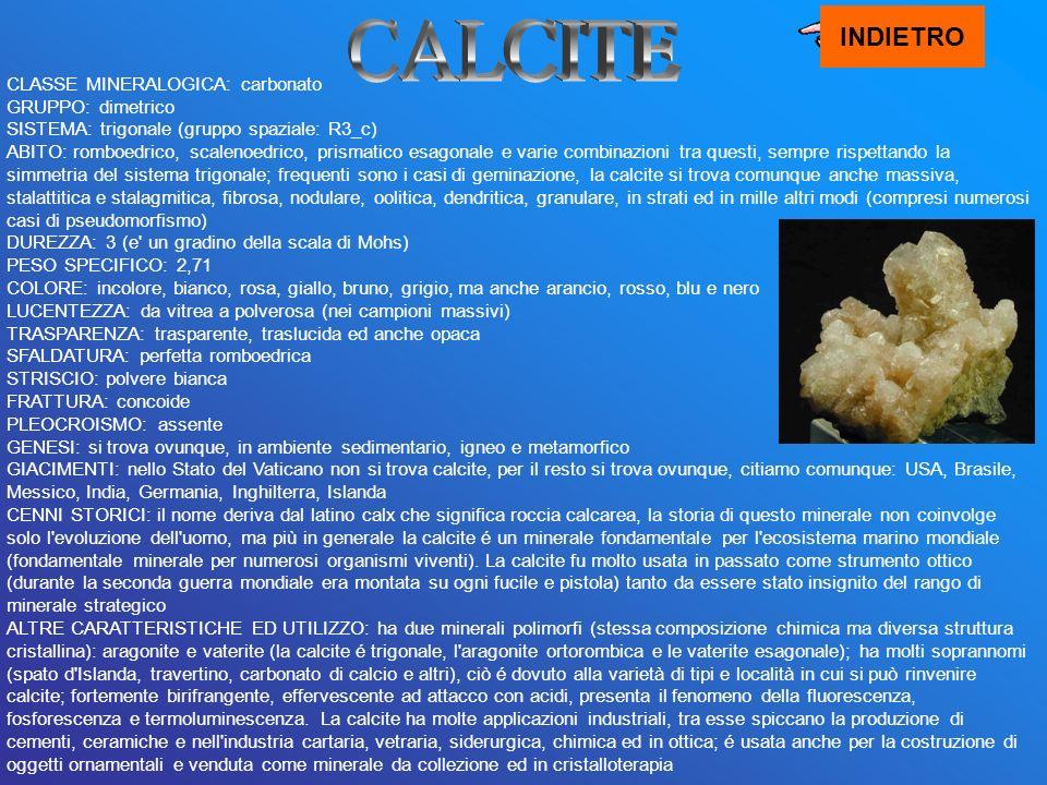 INDIETRO CALCITE.