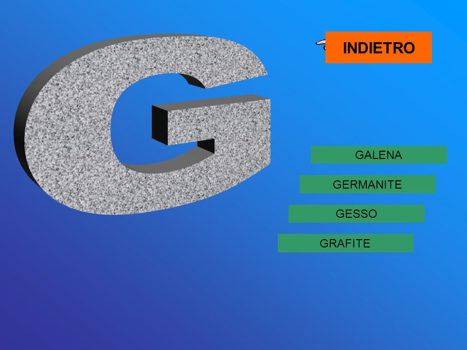 INDIETRO G GALENA GERMANITE GESSO GRAFITE