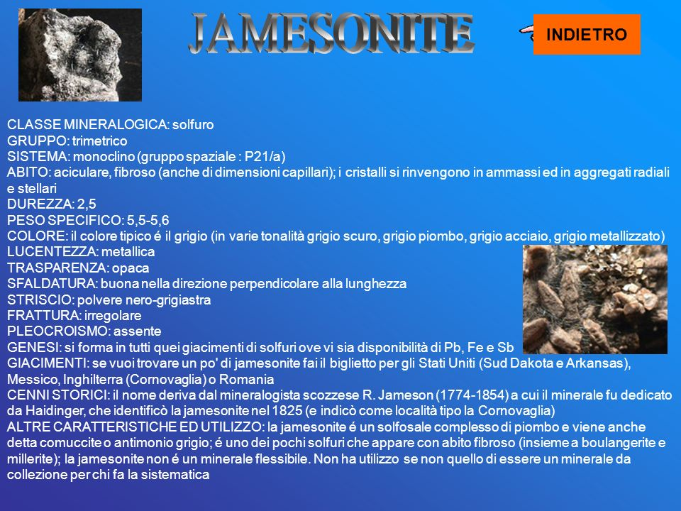 JAMESONITE INDIETRO.