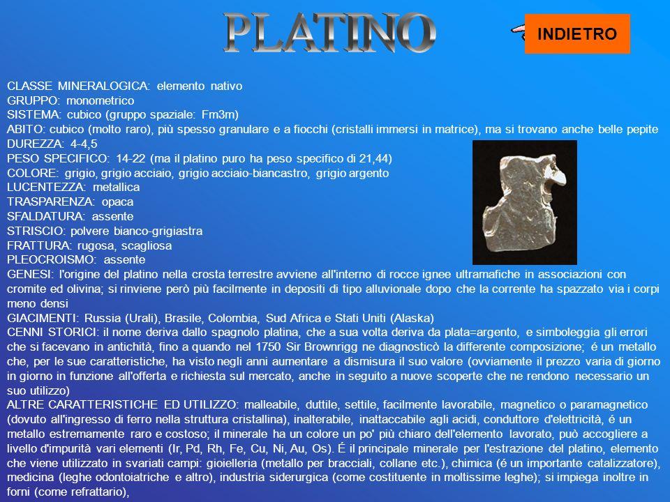 PLATINO INDIETRO.
