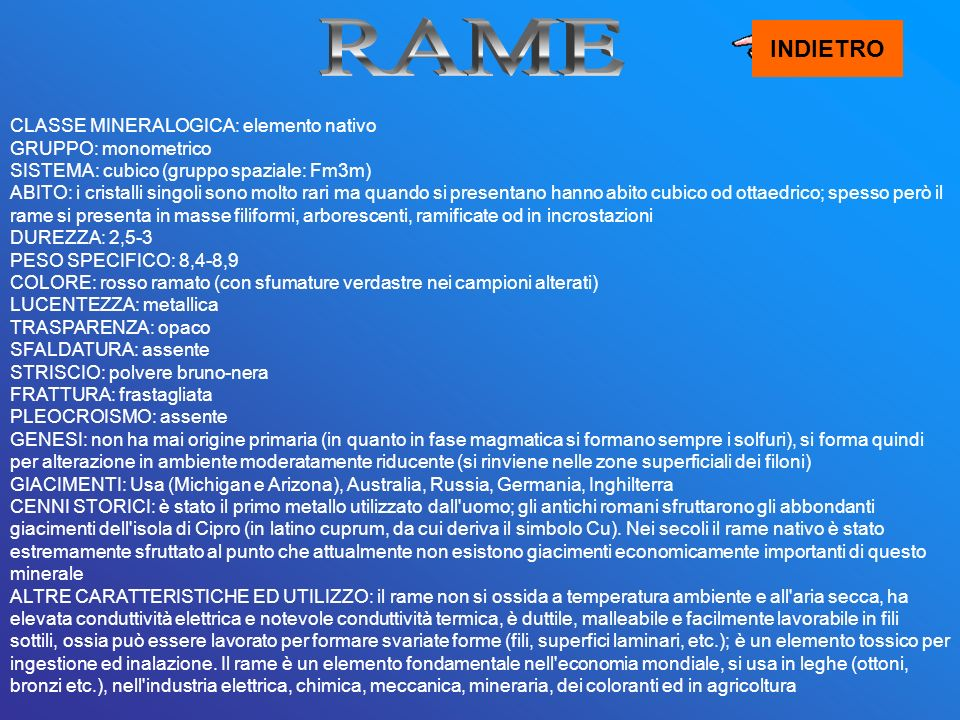 RAME INDIETRO.