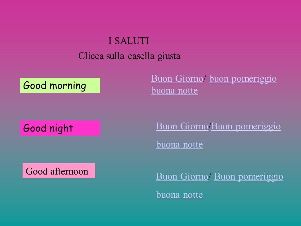I SALUTI Clicca sulla casella giusta. Buon Giorno/ buon pomeriggio buona notte. Good morning. Buon Giorno/Buon pomeriggio.