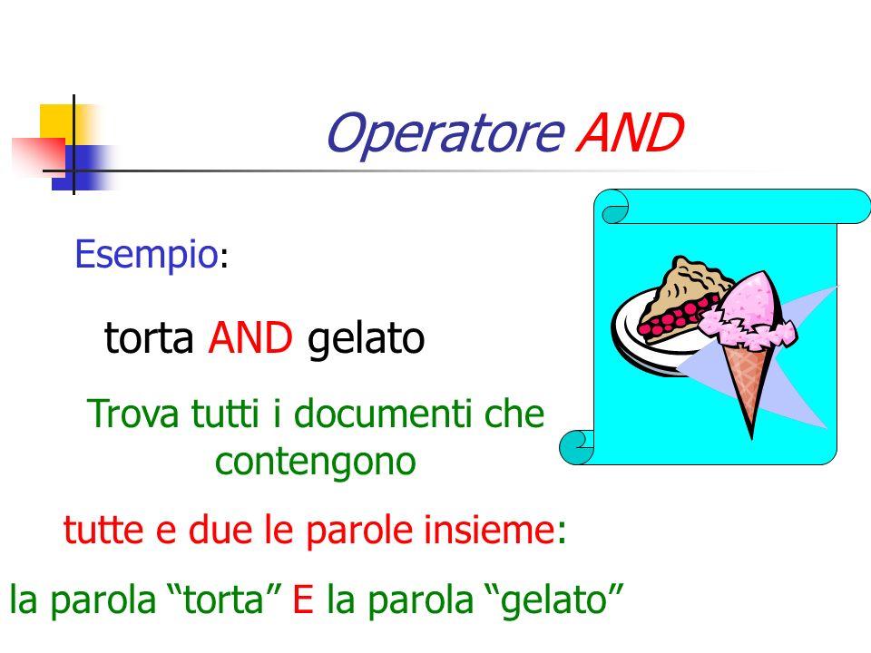 Operatore AND torta AND gelato Esempio: