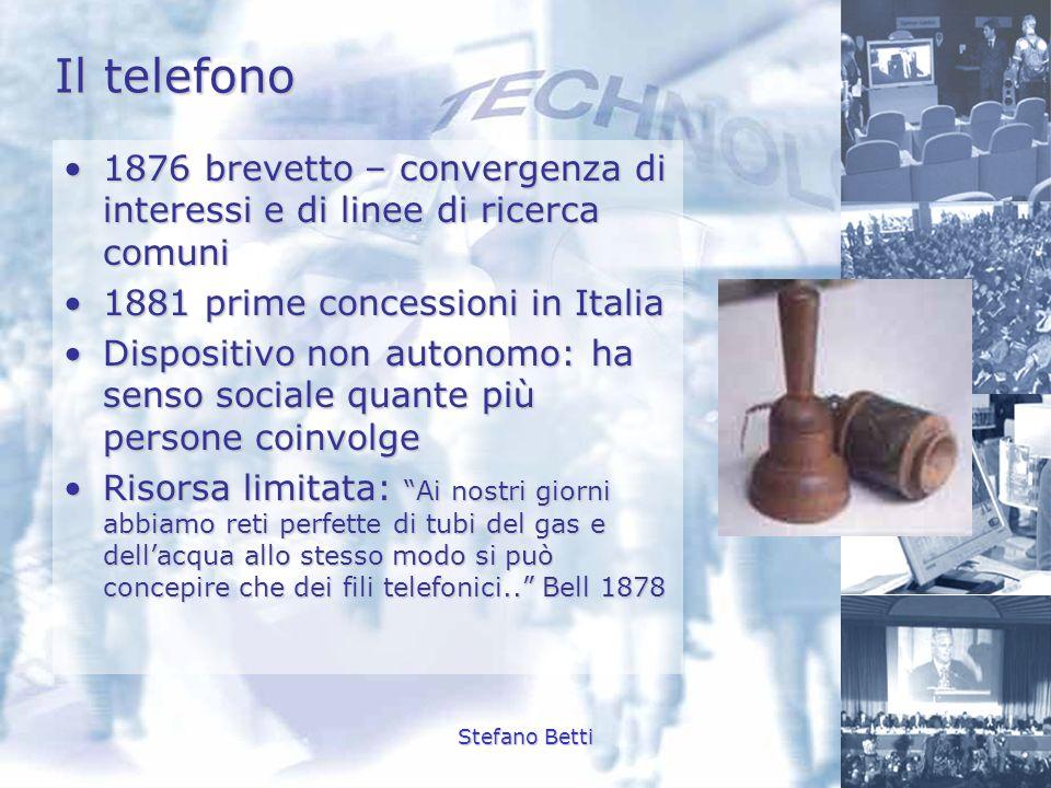 Il telefono 1876 brevetto – convergenza di interessi e di linee di ricerca comuni. 1881 prime concessioni in Italia.