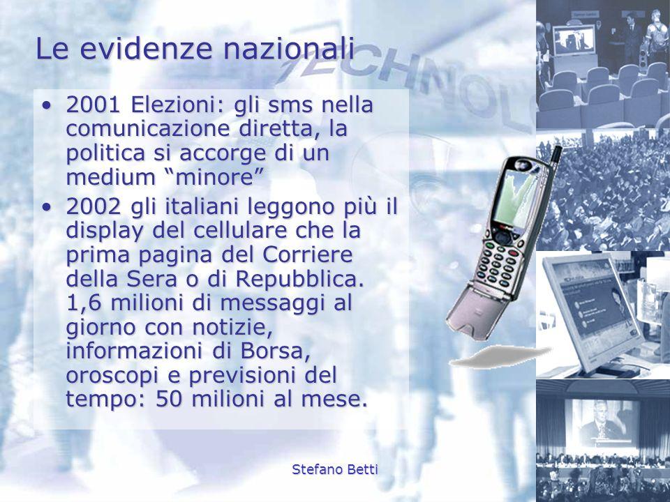 Le evidenze nazionali 2001 Elezioni: gli sms nella comunicazione diretta, la politica si accorge di un medium minore