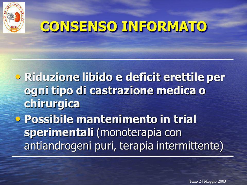 CONSENSO INFORMATO Riduzione libido e deficit erettile per ogni tipo di castrazione medica o chirurgica.