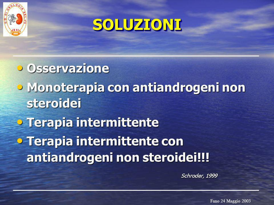 SOLUZIONI Osservazione Monoterapia con antiandrogeni non steroidei