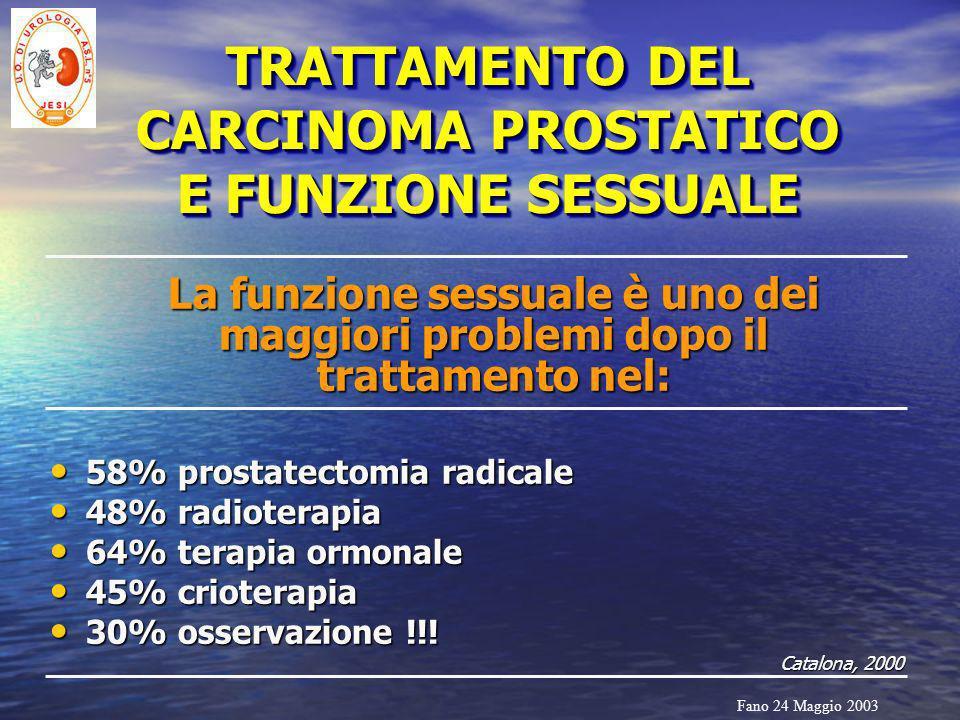 TRATTAMENTO DEL CARCINOMA PROSTATICO E FUNZIONE SESSUALE