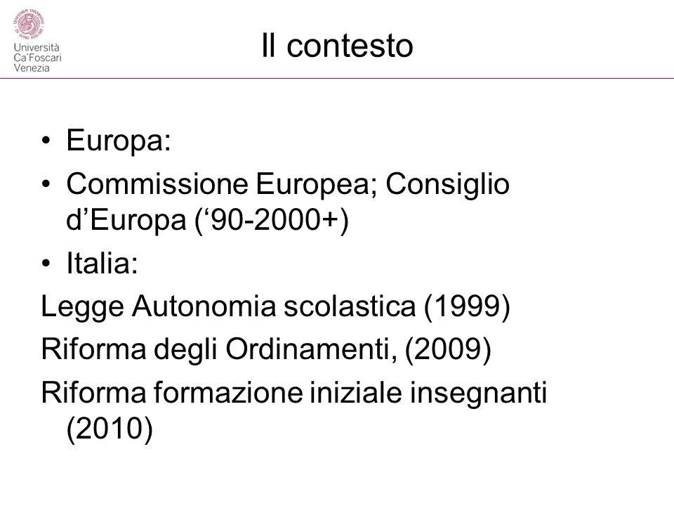 Il contestoEuropa: Commissione Europea; Consiglio d'Europa ('90-2000+) Italia: Legge Autonomia scolastica (1999)