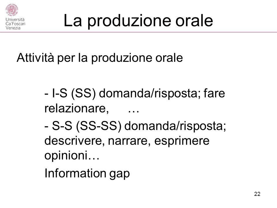 La produzione orale