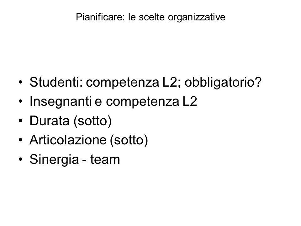 Pianificare: le scelte organizzative