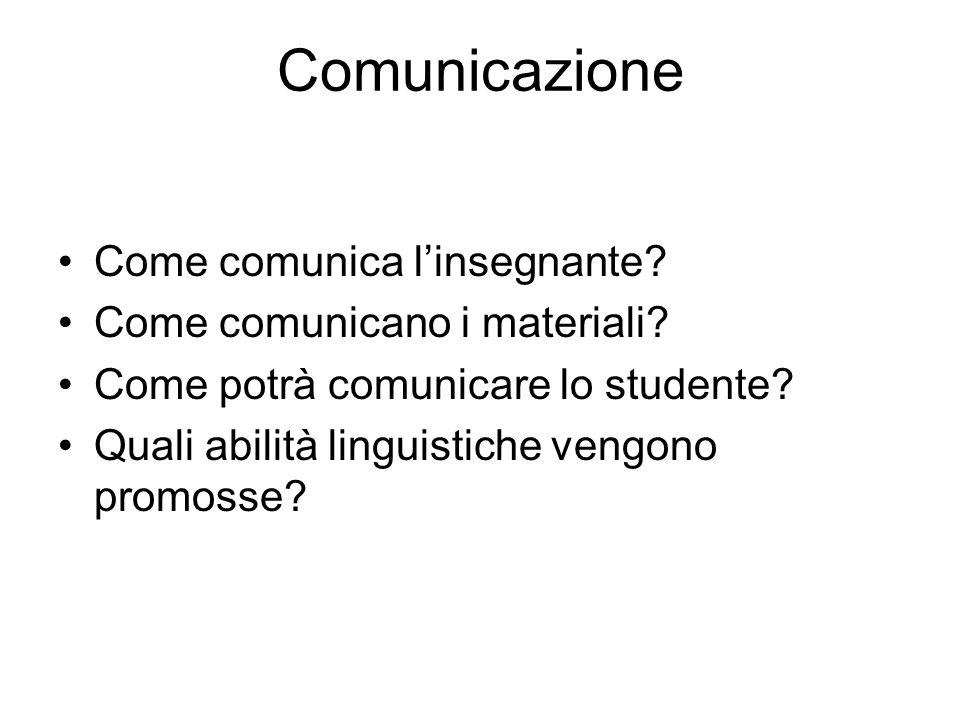 Comunicazione Come comunica l'insegnante Come comunicano i materiali