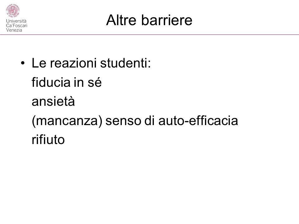 Altre barriere Le reazioni studenti: fiducia in sé ansietà