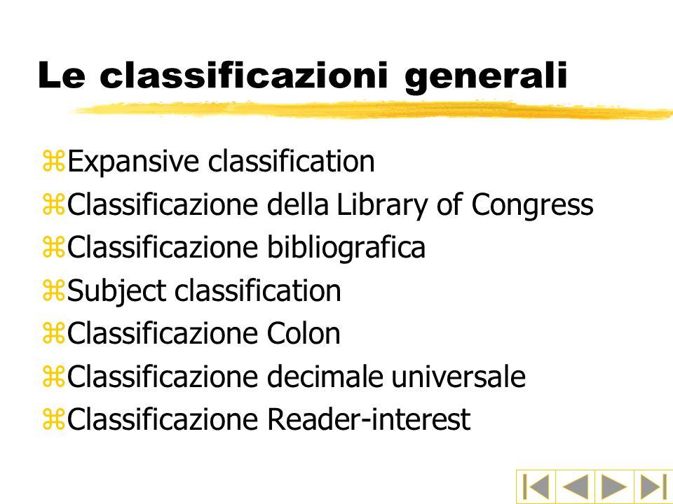 Le classificazioni generali