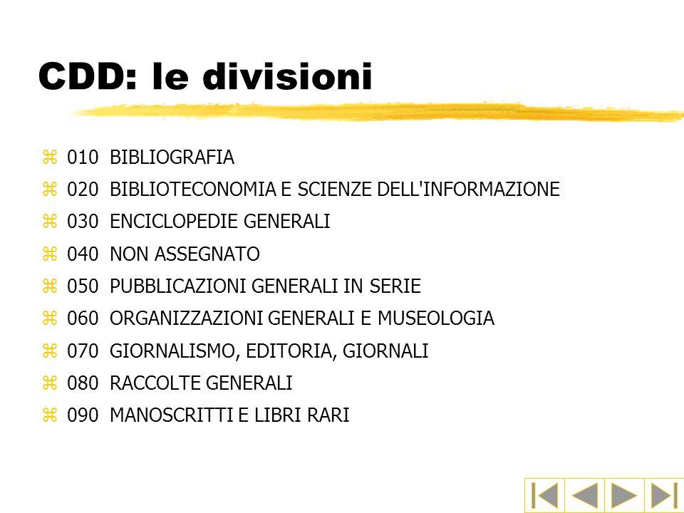 CDD: le divisioni 010 BIBLIOGRAFIA
