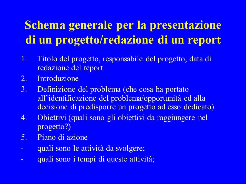 Schema generale per la presentazione di un progetto/redazione di un report