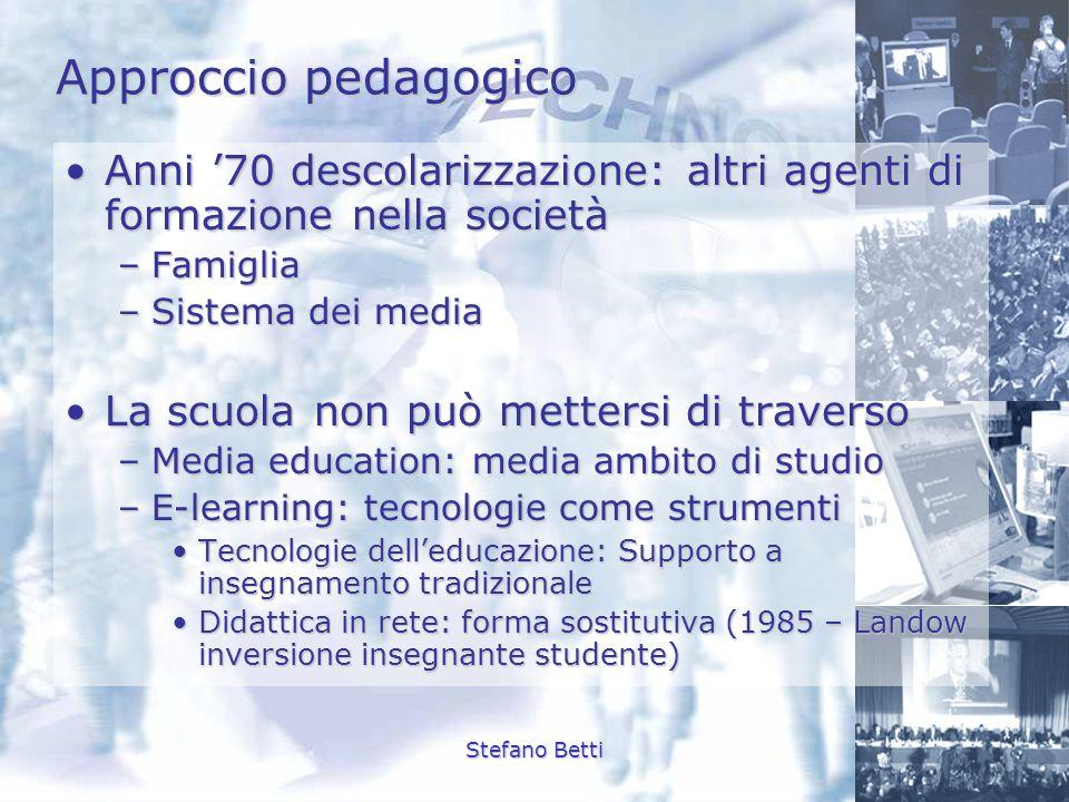 Approccio pedagogicoAnni '70 descolarizzazione: altri agenti di formazione nella società. Famiglia.