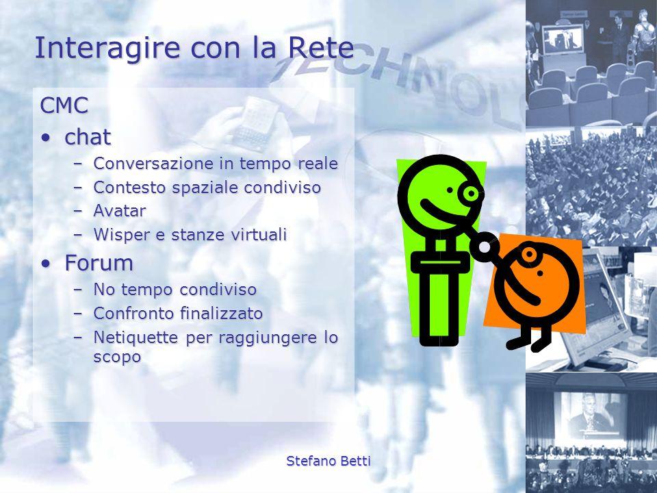 Interagire con la Rete CMC chat Forum Conversazione in tempo reale