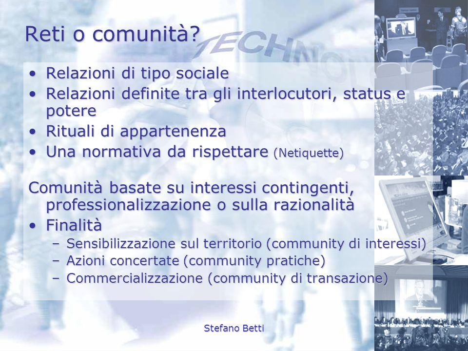 Reti o comunità Relazioni di tipo sociale