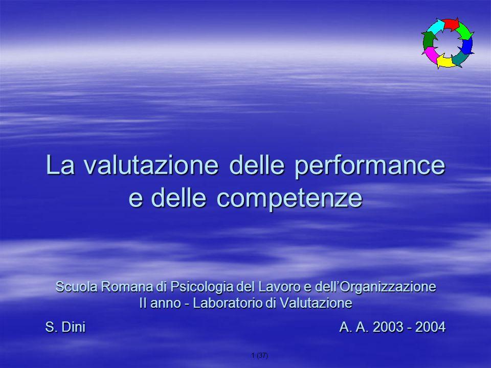 La valutazione delle performance e delle competenze Scuola Romana di Psicologia del Lavoro e dell'Organizzazione II anno - Laboratorio di Valutazione S.