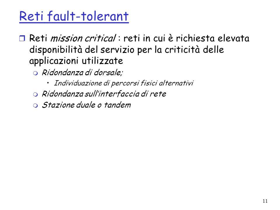 Reti fault-tolerant Reti mission critical : reti in cui è richiesta elevata disponibilità del servizio per la criticità delle applicazioni utilizzate.
