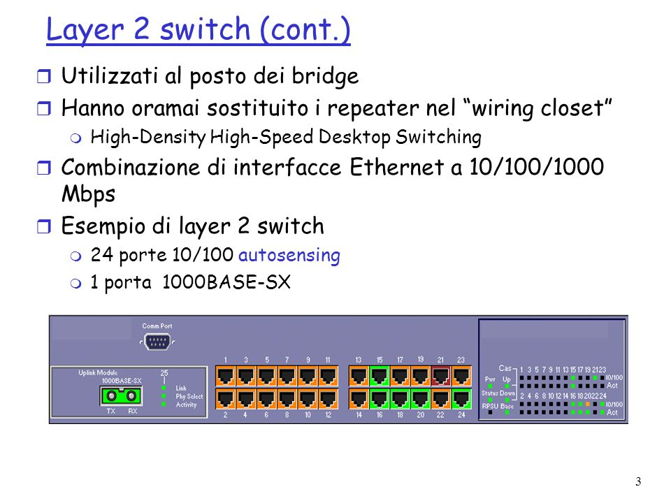 Layer 2 switch (cont.) Utilizzati al posto dei bridge
