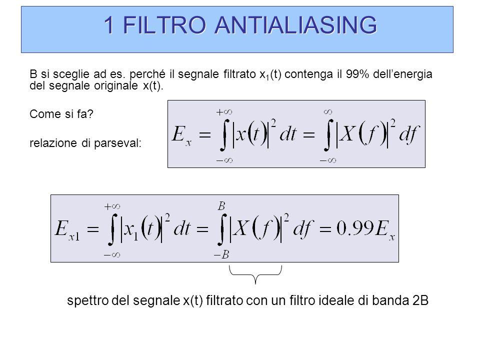 1 FILTRO ANTIALIASING B si sceglie ad es. perché il segnale filtrato x1(t) contenga il 99% dell'energia del segnale originale x(t).