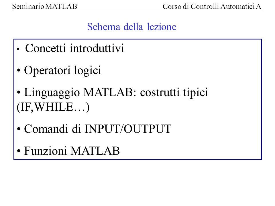 Linguaggio MATLAB: costrutti tipici (IF,WHILE…)