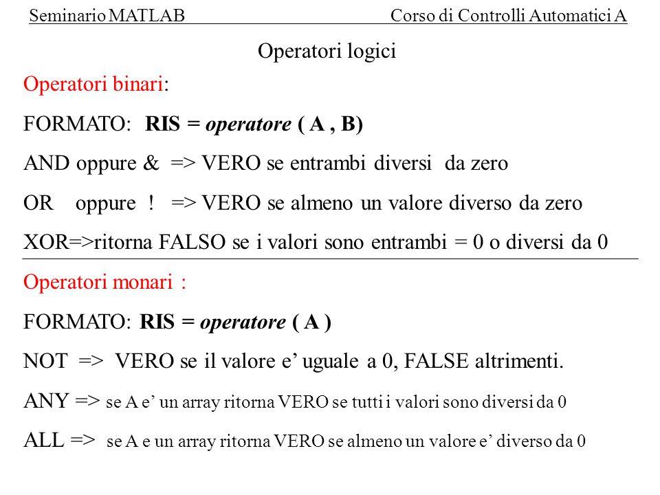 Operatori logici Operatori binari: FORMATO: RIS = operatore ( A , B) AND oppure & => VERO se entrambi diversi da zero.