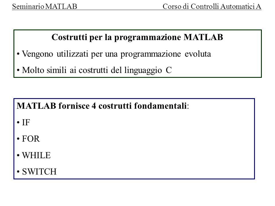 Costrutti per la programmazione MATLAB