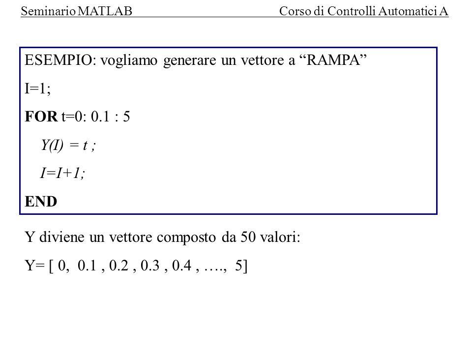 ESEMPIO: vogliamo generare un vettore a RAMPA