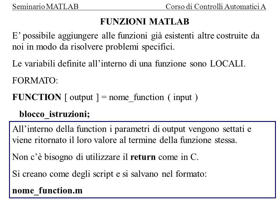 FUNZIONI MATLAB E' possibile aggiungere alle funzioni già esistenti altre costruite da noi in modo da risolvere problemi specifici.
