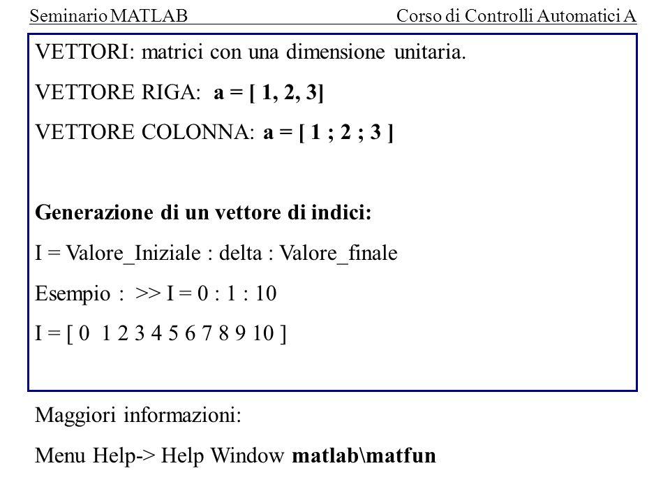 VETTORI: matrici con una dimensione unitaria.