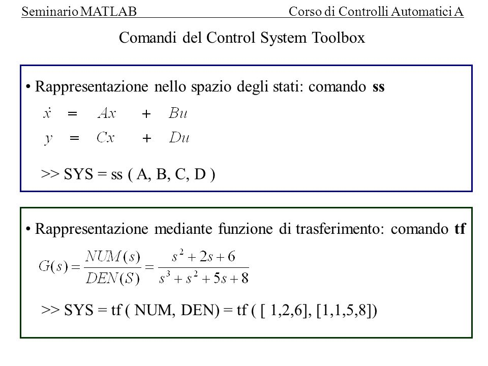 Comandi del Control System Toolbox