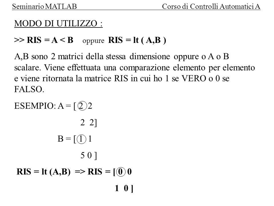 MODO DI UTILIZZO : >> RIS = A < B oppure RIS = lt ( A,B )