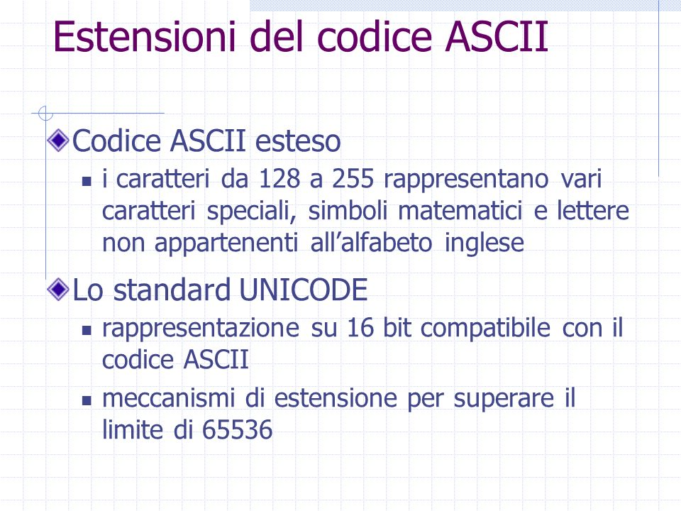 Estensioni del codice ASCII