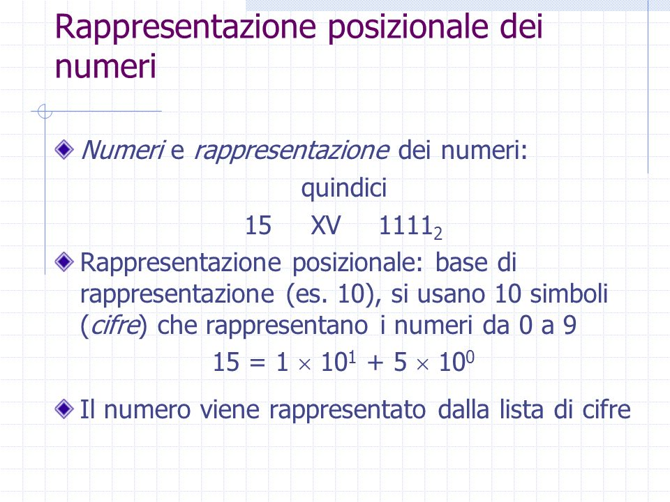 Rappresentazione posizionale dei numeri