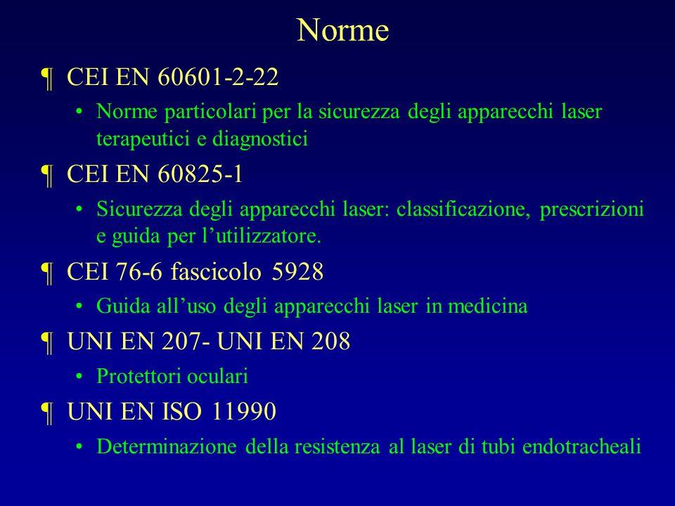 Norme CEI EN 60601-2-22 CEI EN 60825-1 CEI 76-6 fascicolo 5928