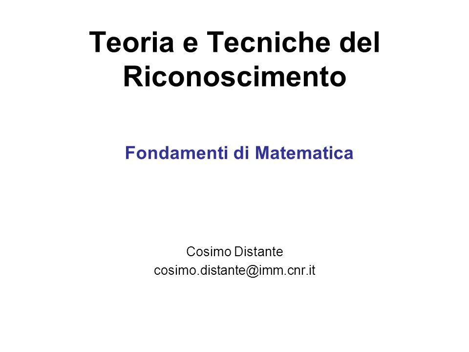 Teoria e Tecniche del Riconoscimento