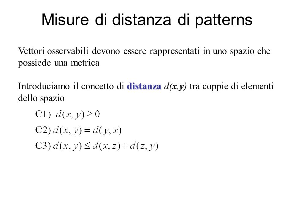 Misure di distanza di patterns