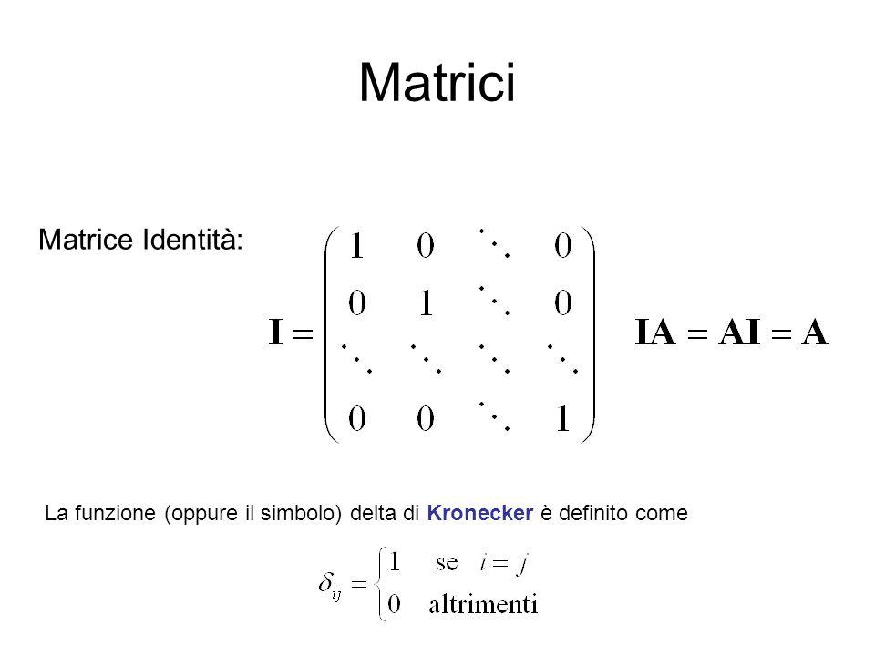 Matrici Matrice Identità: