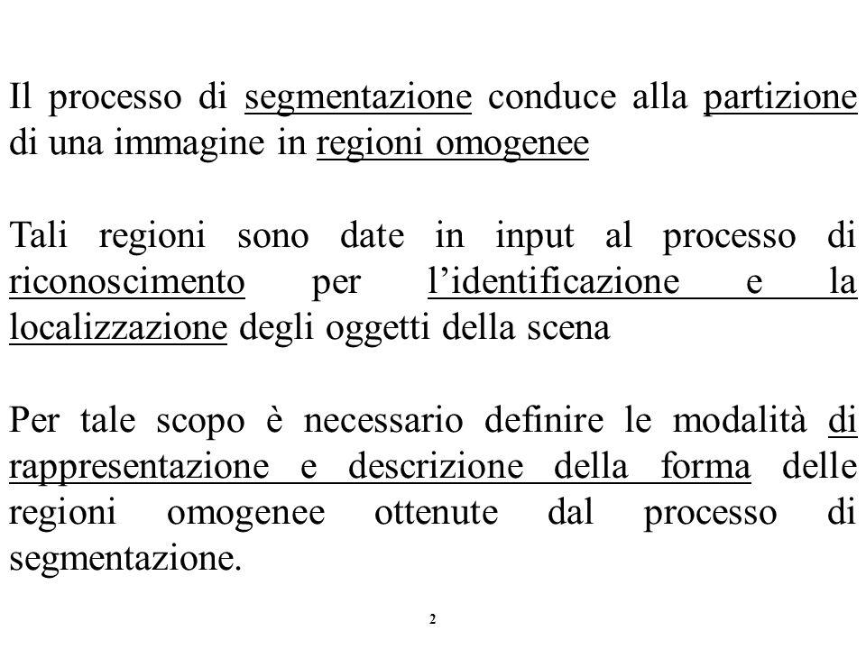 Il processo di segmentazione conduce alla partizione di una immagine in regioni omogenee
