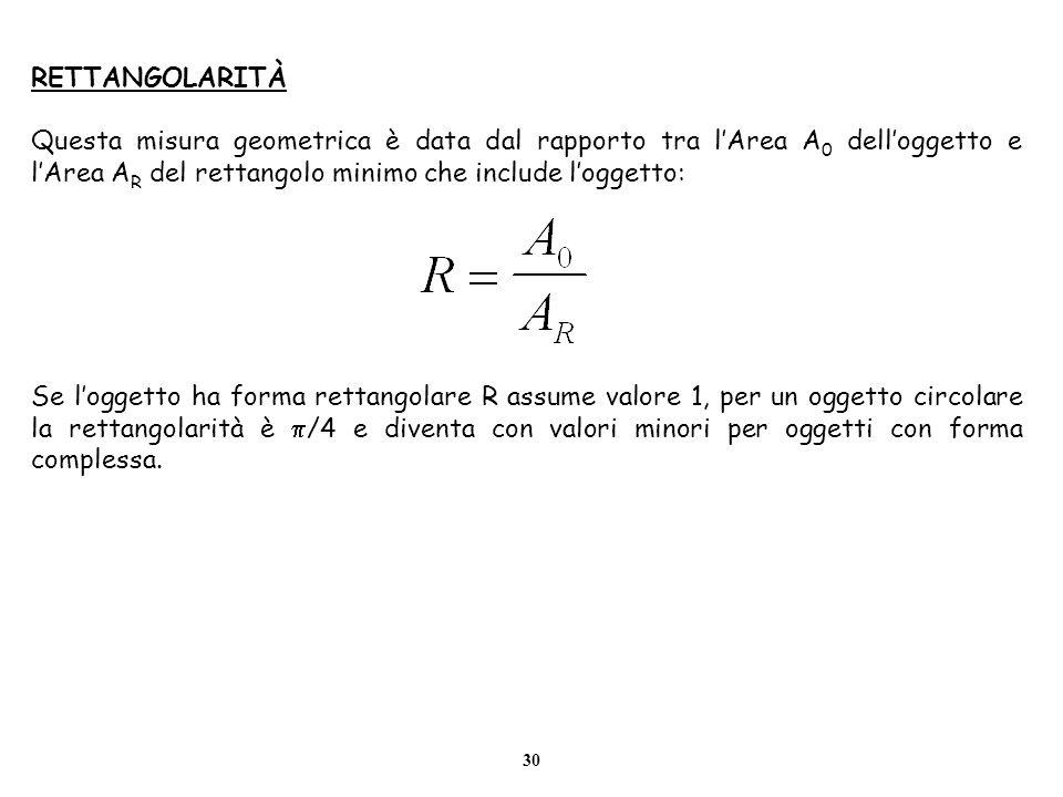 RETTANGOLARITÀQuesta misura geometrica è data dal rapporto tra l'Area A0 dell'oggetto e l'Area AR del rettangolo minimo che include l'oggetto: