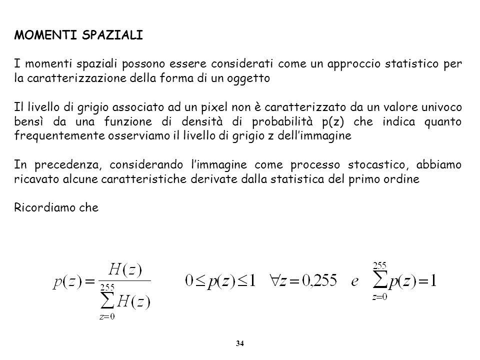 MOMENTI SPAZIALI I momenti spaziali possono essere considerati come un approccio statistico per la caratterizzazione della forma di un oggetto.
