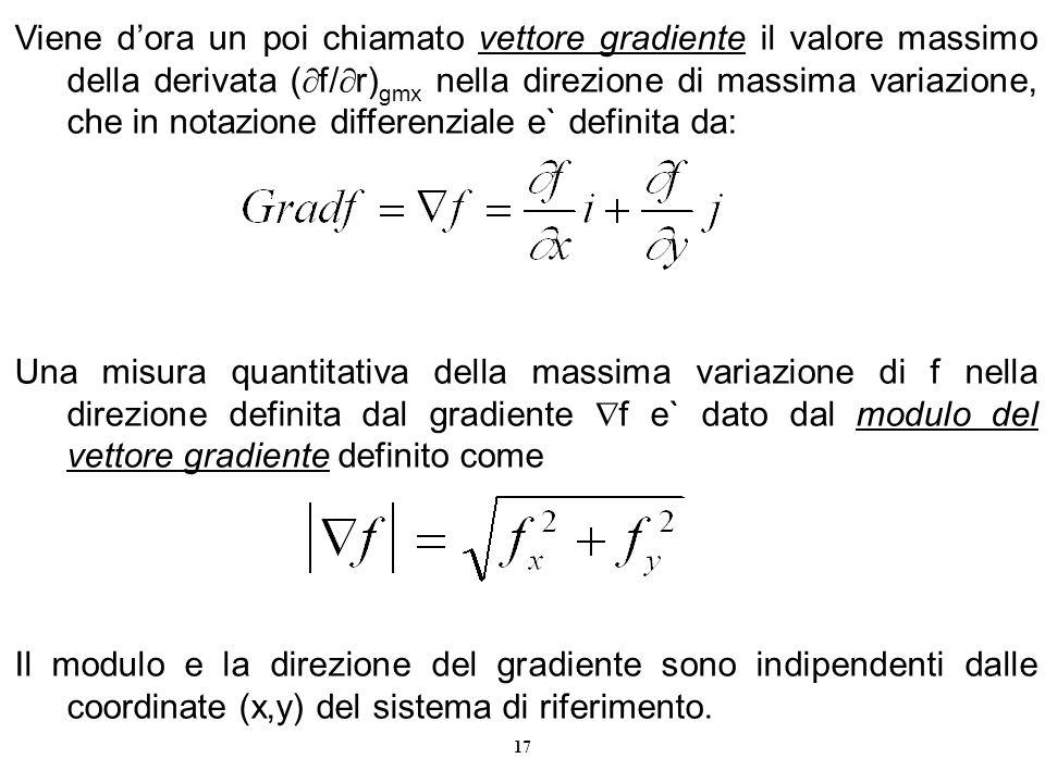 Viene d'ora un poi chiamato vettore gradiente il valore massimo della derivata (f/r)gmx nella direzione di massima variazione, che in notazione differenziale e` definita da: