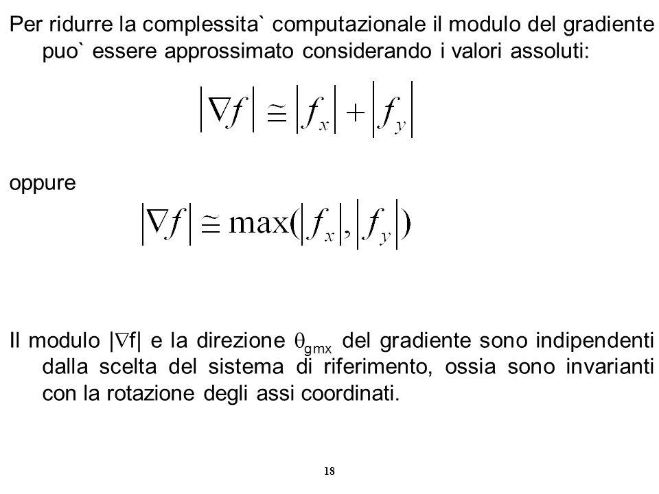 Per ridurre la complessita` computazionale il modulo del gradiente puo` essere approssimato considerando i valori assoluti: