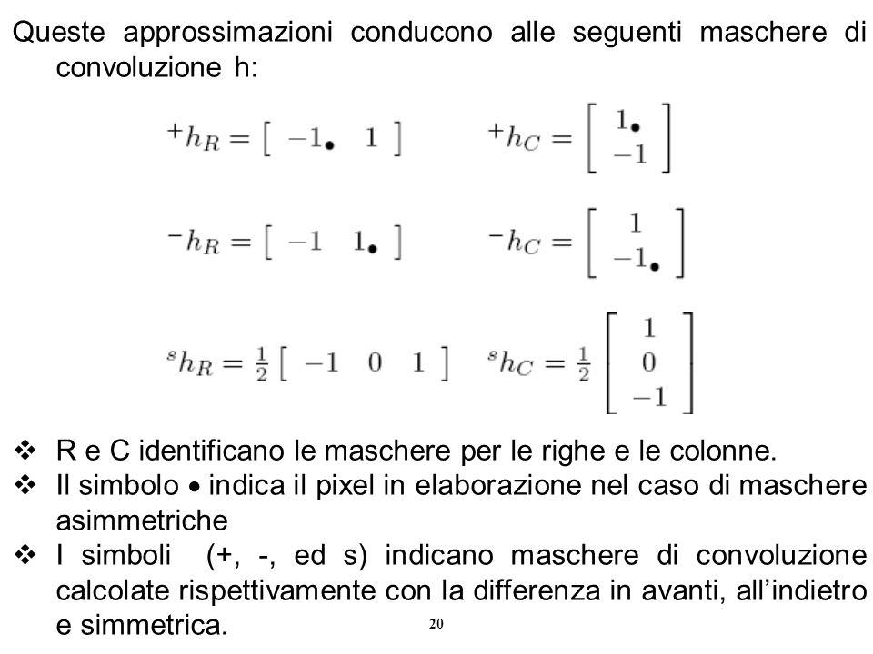 Queste approssimazioni conducono alle seguenti maschere di convoluzione h:
