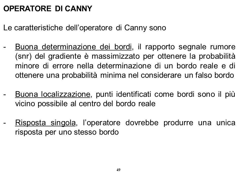 OPERATORE DI CANNY Le caratteristiche dell'operatore di Canny sono.
