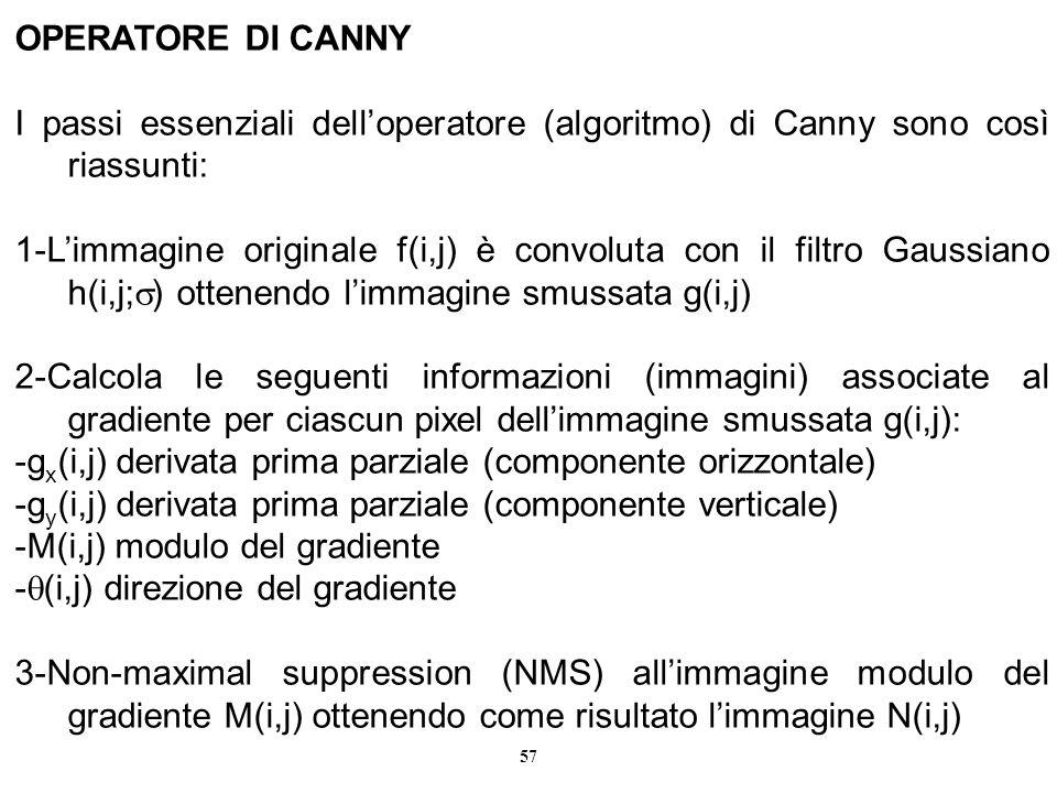 OPERATORE DI CANNY I passi essenziali dell'operatore (algoritmo) di Canny sono così riassunti: