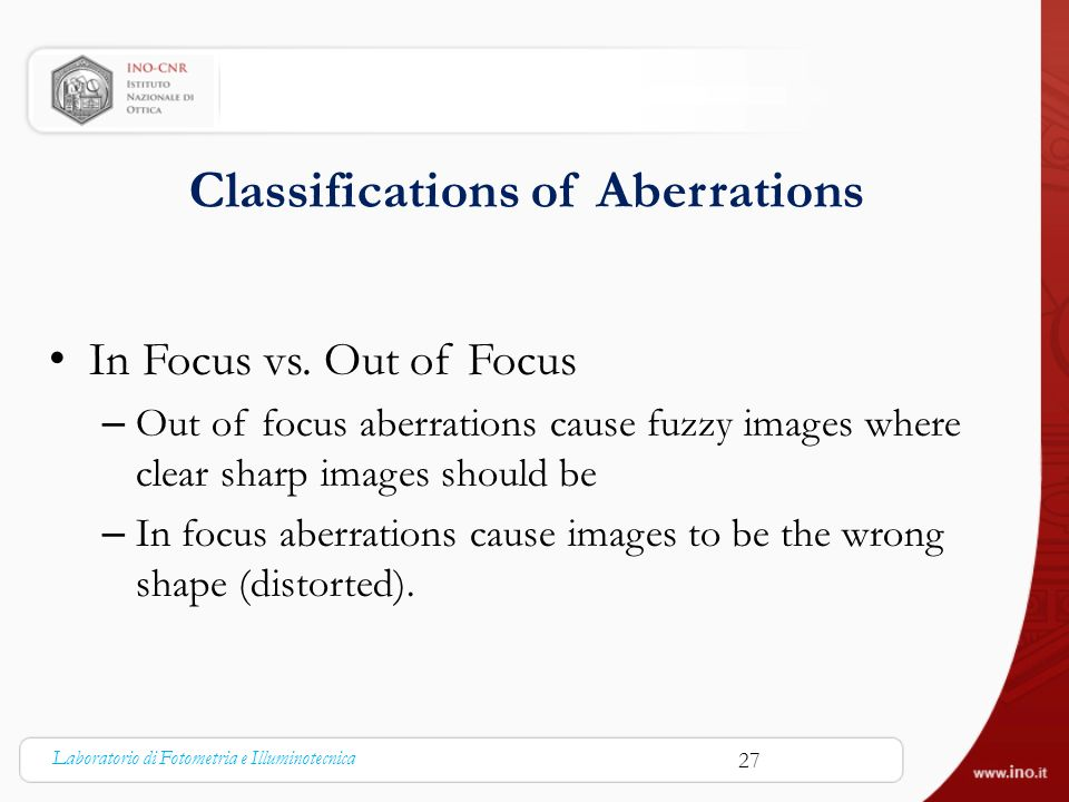 Classifications of Aberrations